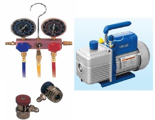Đồng hồ gas chuyên dụng và máy hút chân không để hỗ trợ lắp đặt và xử lý xự cố
